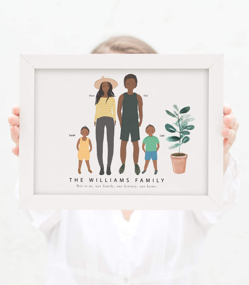 Personalized Family of Four, Dad, Mom and two Kids