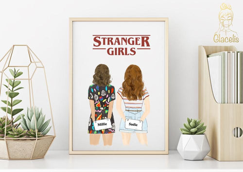 Stranger Girls - Friends don't lie - Mug and Print Art - For the bestie in your life who loves Stranger Things just as much as you do! This classic art print is perfect for you and your BFF that binge watch every new season of ST