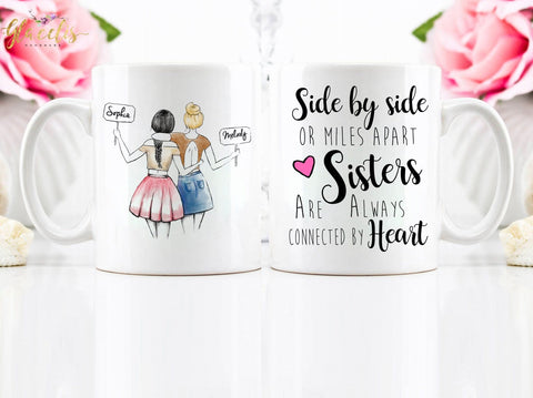 Personalized side by side Soul Sisters Gift, on Coffee Mug - By Glacelis®
