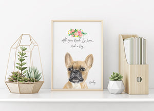 Personalized pet portrait, fawn French Bulldog Wall Art 8x10 - Custom Personalized Gifts for friends, Family & special occasions!
