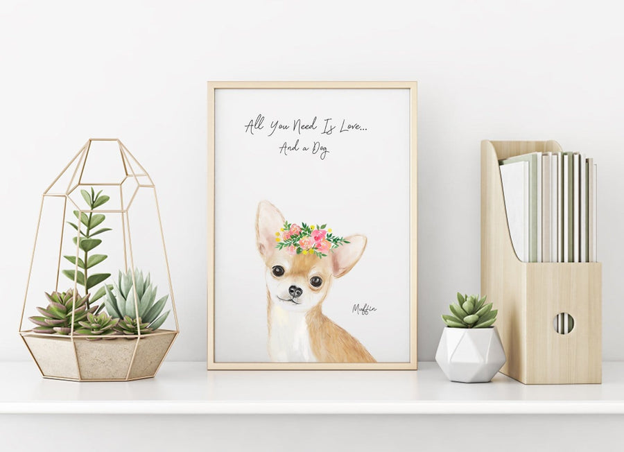 Personalized pet portrait, fawn Chihuahua Wall Art 8x10 - All you need is love... and a dog! This personalized artwork is the perfect gift for chihuahua owners to honor their beloved pet. Show off the love for your dog with this one of a kind chihuahua artwork that pet owners will cherish forever