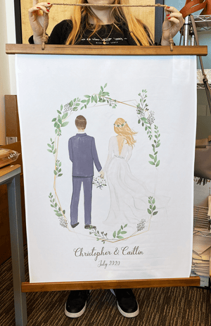 Wedding couple Wood Topped Wall Tapestry