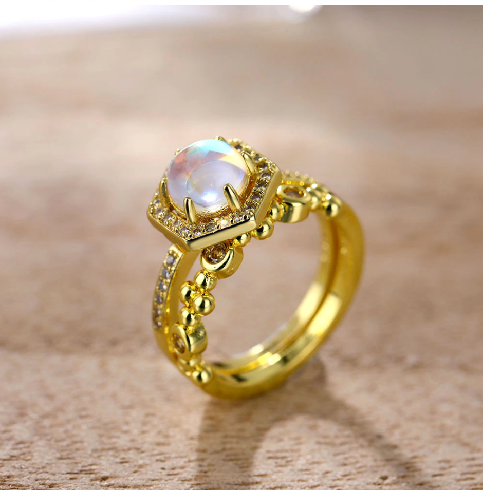 Austrian Moonstone Dual Ring Set