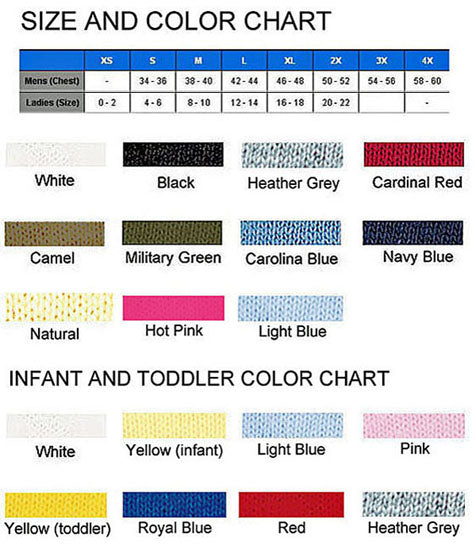 size and color chart