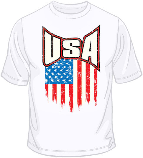 USA Flag Distressed T Shirt