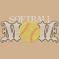 Softball Mom - Rhinestones & Yellow Nailheads T Shirt