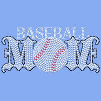 Baseball Mom - Rhinestones & Black Nailheads T Shirt