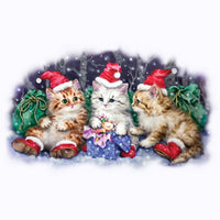Three Santas - Kittens - Glitter T Shirt