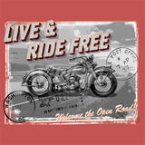 Live Ride Free Vintage Bike Postcard T Shirt