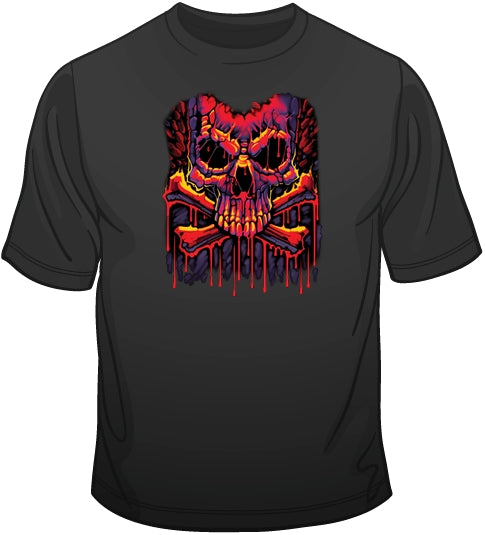 Melting Crossbones (extra large print) T Shirt
