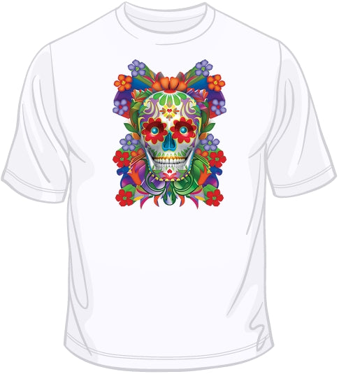 Painted Skull - Floral T Shirt