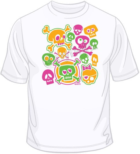 Cartoon Skulls - Neon T Shirt