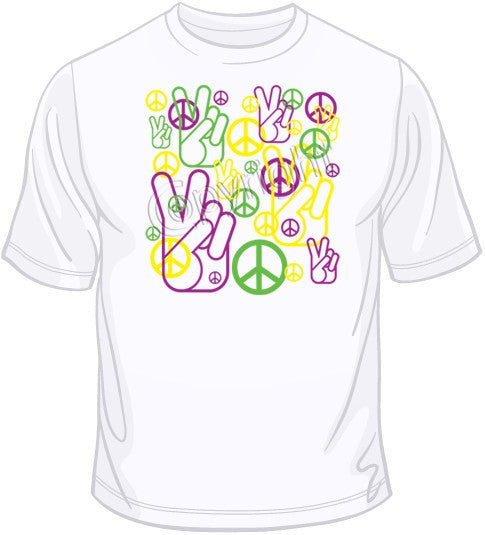 Peace Fingers & Sign - Neon T Shirt