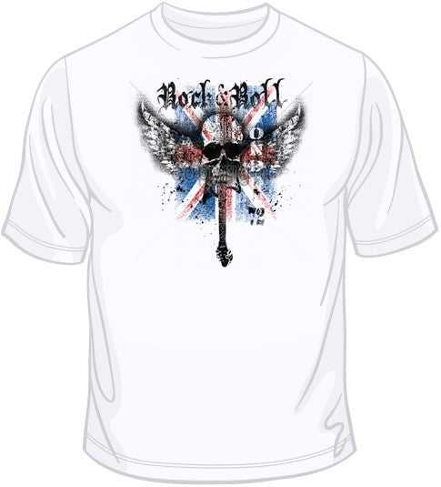 Rock N Roll Wing Skull T Shirt