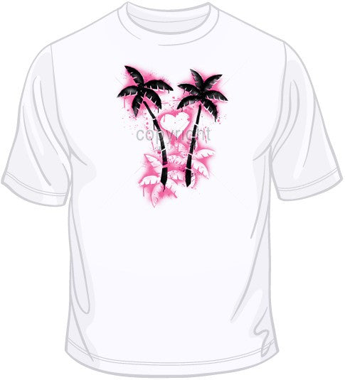 Stencil Palm Trees and Heart T Shirt