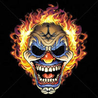 Flaming Clown Skull T Shirt