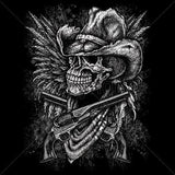 Skull Cowboy, Guns, Wings T Shirt