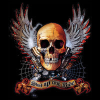 Winged Skull- Shut Up And Ride T Shirt