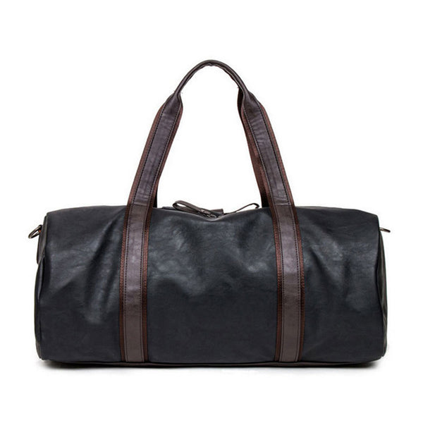 53ec9cc0dd0 Mens Leather Duffle Bag - Black Leather with Stylish Brown Handles – Matte  Black Online