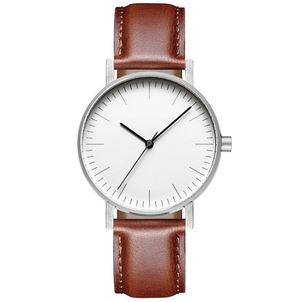 Minimalist Watch | Brown Genuine Leather Strap | 36mm Wrist