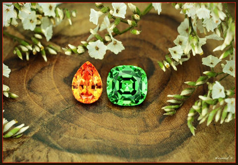 A set of some of my favourite gems: a Mandarin Garnet and a delicious Minty Tsavorite