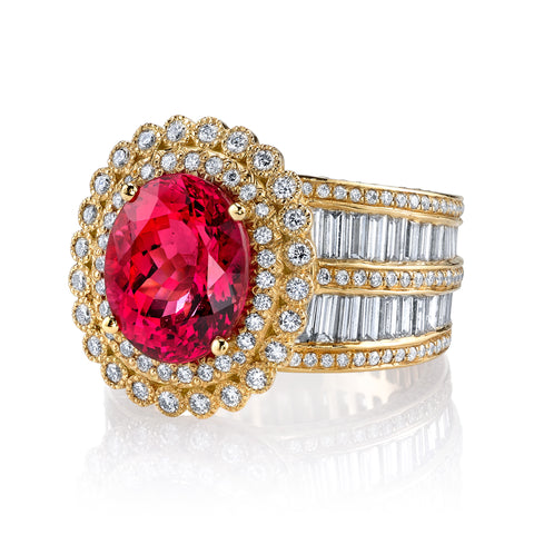 Erica Courtney's Diana ring featuring a stunning Mahenge Spinel