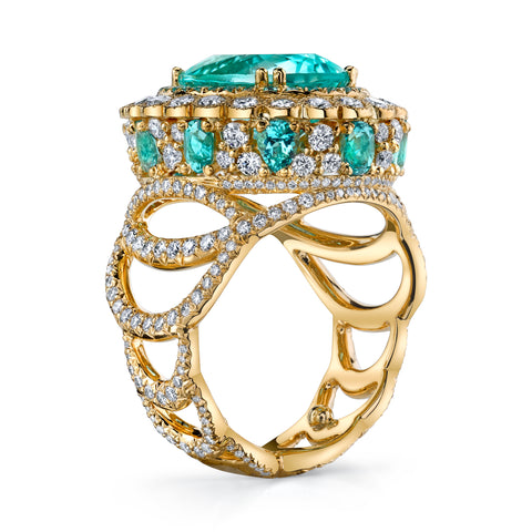 Erica Courtney's Easter Egg Paraiba ring seen from the side fully highlighting Erica's passion for Architecture