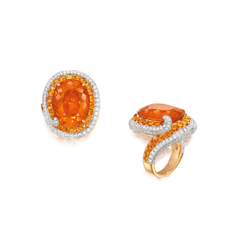 13.86-Carat Fire Opal, Orange Sapphire and Diamond Ring, Stewart Young