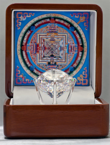 The Kalachakra Mandala Gemstone, a Cubic Zirconia of 536 carats featuring 722 facets