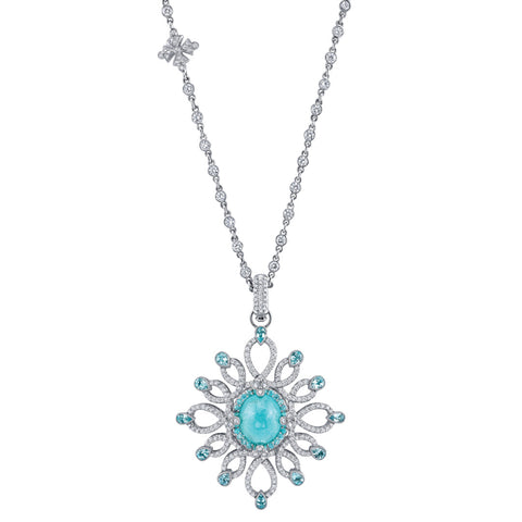 Erica Courtney's Medusa Paraiba pendant - (NDLR: Traditionally Paraiba Tourmalines are heat treated )