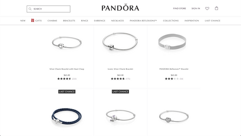Selection of Pandora's best selling items