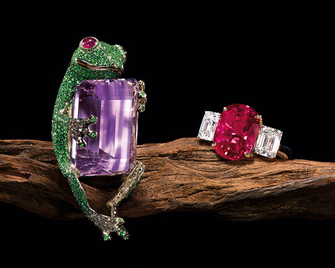 "Amethyst, Tsavorite garnet, Ruby and Brown Diamonds ""Tree Frog"" Pendant by Stewart Young sold at Tiancheng Spring 2015 Auction - photo credit: Tiancheng International"
