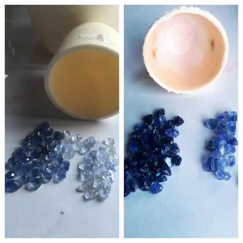 Before and after treatment on Sapphires