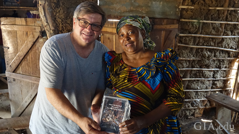 Robert Weldon, GIA director of the Richard T. Liddicoat Library and Information Center, pictured with an artisanal miner from Tunduru, Tanzania. Photo by Pedro Padua/GIA.