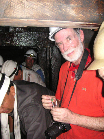 How can we talk about emeralds without showcasing the mines, here, Richard Wise in an emerald mine in Colombia - Photo Credits: Ron Ringsrud