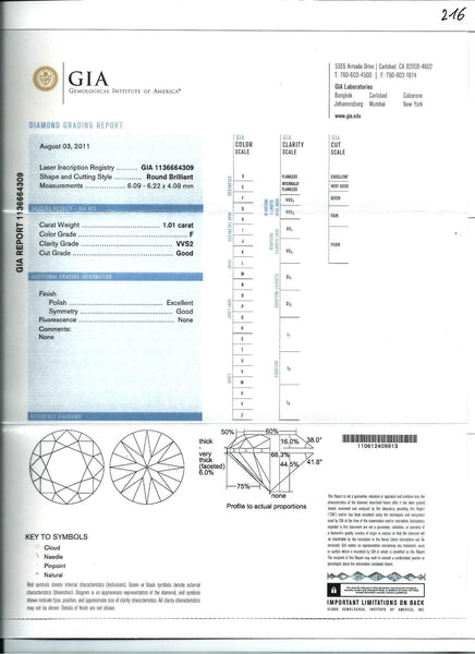 Diamond F-VVS2 GIA Certified 1.01 cts - Asia Lounges