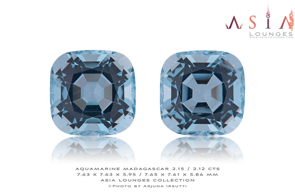 A Lovely Pair of Aquamarine From Madagascar 2.15 / 2.12 cts - Asia Lounges