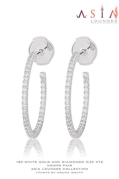 18k White Gold and 0.34 cts Diamonds Ear Hoops - Asia Lounges