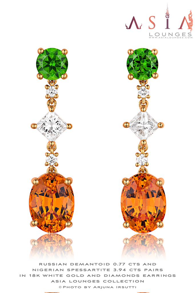 Russian Demantoids and Nigerian Spessartite Garnet pairs in 18k Yellow Gold and Diamond Earrings - Asia Lounges