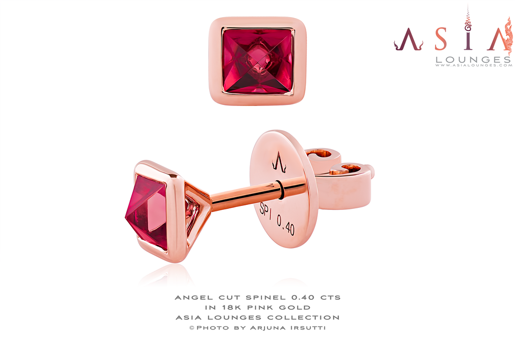 The Angel Cut Spinel in 18k Pink Gold Earrings - Asia Lounges