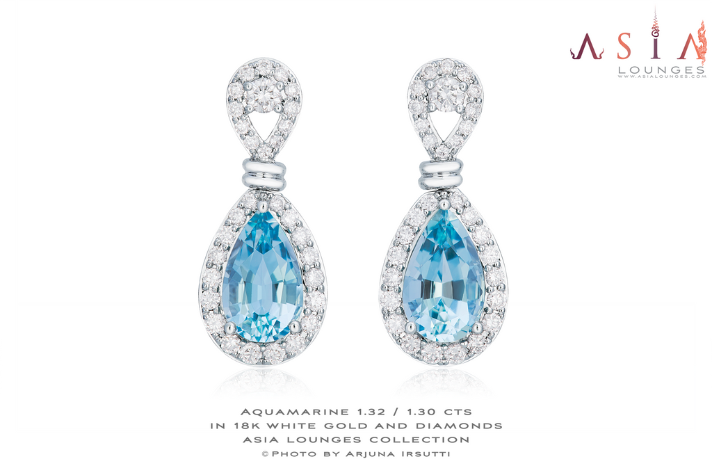 Classic Aquamarine 1.32 / 1.30 cts in 18k White Gold and Diamonds Earrings - Asia Lounges