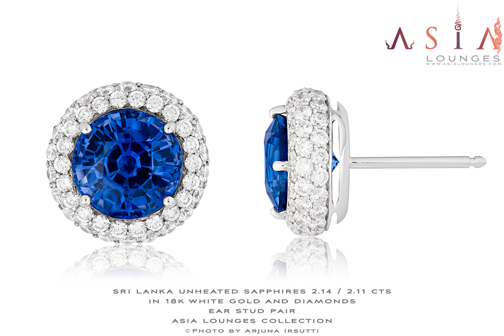 Delicious Pair of Ceylonese Natural, Unheated, Cornflower Blue Sapphires in 18k White Gold and Diamonds - Asia Lounges