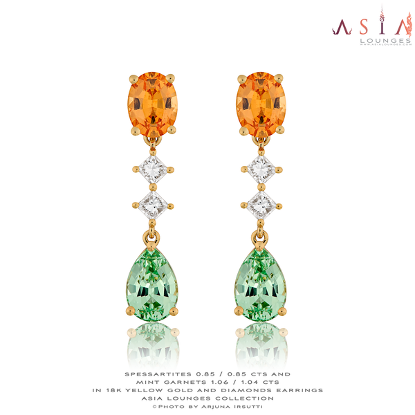 Lovely Mandarin and Merelani Mint Garnet Earrings in 18k Yellow Gold and Diamonds - Asia Lounges