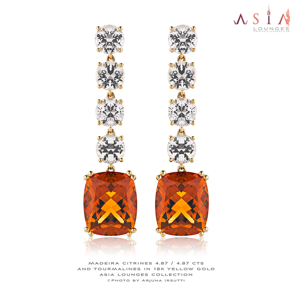 Light pink tourmalines and madeira citrines in 18k yellow gold earrings - Asia Lounges