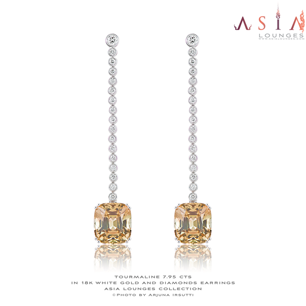 Stunning 7.95cts /2 Peach Tourmaline in 18k White Gold and  Diamonds Earrings - Asia Lounges
