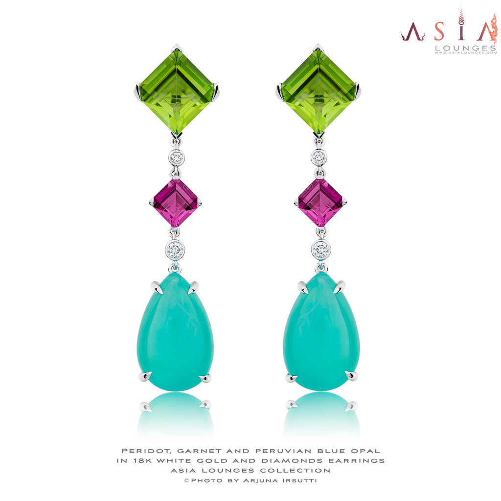 Delicious Candy Collection Earrings Featuring Peruvian Blue Opals, Peridots and Garnets in 18k White Gold and Diamonds - Asia Lounges