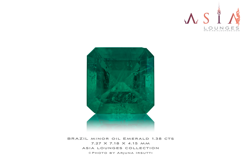 Brazilian Minor Oil Cushion Cut Emerald 1.38 cts - Asia Lounges