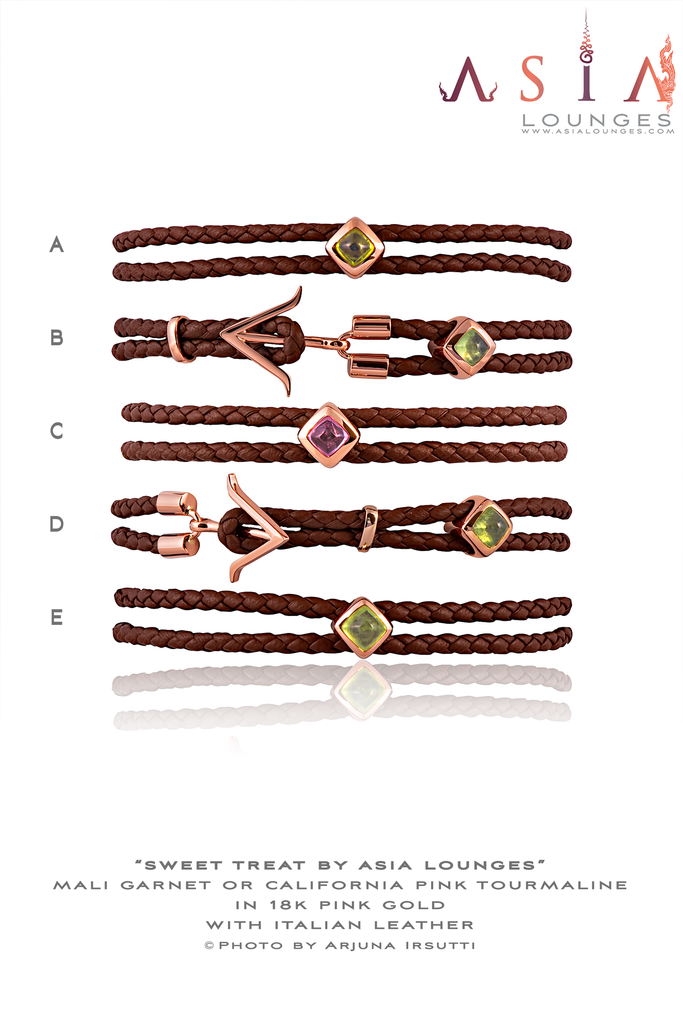 Mali Garnet Sugar Loaf in 18k Pink Gold with Italian Leather Bracelet - Asia Lounges