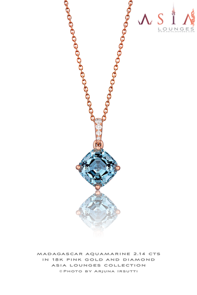 Madagascar Aquamarine Cushion 2.14 cts  18k Pink Gold and Diamond Pendant - Asia Lounges