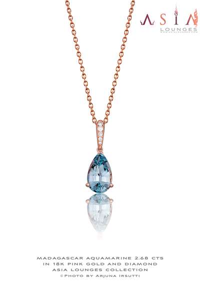 Pear Shaped Madagascar Aquamarine set in 18k Pink Gold and Diamonds Pendant - Asia Lounges